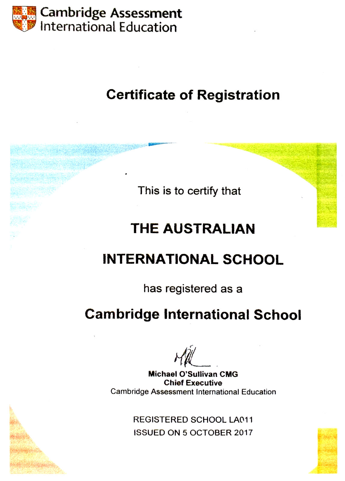 AIS certificate of registration